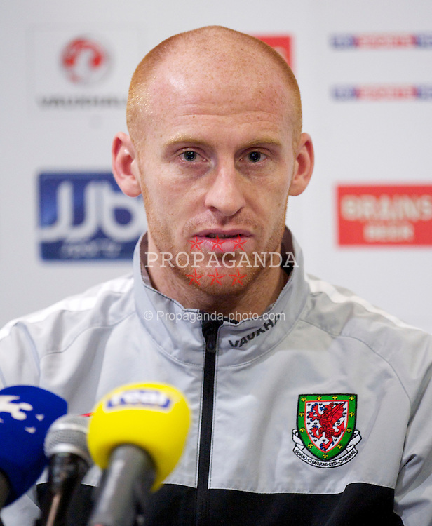 DUBLIN, IRELAND - Monday, February 7, 2011: Wales' captain James Collins during a press conference at the Roganstown Hotel & Country Club ahead of the opening Carling Nations Cup match against the Republic of Ireland. (Photo by David Rawcliffe/Propaganda)