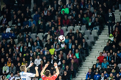Luka Zahović of Slovenia and Visar Musliu of Macedonia during football match between National teams of Slovenia and North Macedonia in Group G of UEFA Euro 2020 qualifications, on March 24, 2019 in SRC Stozice, Ljubljana, Slovenia.  Photo by Matic Ritonja / Sportida