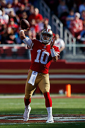 SANTA CLARA, CA - DECEMBER 17: Quarterback Jimmy Garoppolo #10 of the San Francisco 49ers passes against the Tennessee Titans during the first quarter at Levi's Stadium on December 17, 2017 in Santa Clara, California.  (Photo by Jason O. Watson/Getty Images) *** Local Caption *** Jimmy Garoppolo