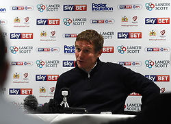 Bolton Wanderers manager Phil Parkinson talks to the press - Mandatory by-line: Paul Knight/JMP - 26/09/2017 - FOOTBALL - Ashton Gate Stadium - Bristol, England - Bristol City v Bolton Wanderers - Sky Bet Championship