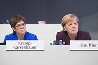 22 NOV 2019, LEIPZIG/GERMANY:<br /> Annegret Kramp-Karrenbauer (L), CDU Bundesvorsitzende und Bundesverteidigungsministerin, und Angela Merkel (R), CDU, Bundeskanzlerin, im Gespraech, CDU Bundesparteitag, CCL Leipzig<br /> IMAGE: 20191122-01-249<br /> KEYWORDS: Parteitag, party congress, Gespräch