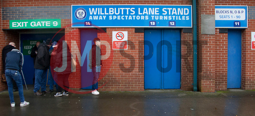 General view as Rovers fans wait to go into the stadium - Mandatory by-line: Jack Phillips/JMP - 02/11/2019 - FOOTBALL - Crown Oil Arena - Rochdale, England - Rochdale v Bristol Rovers - English Football League One