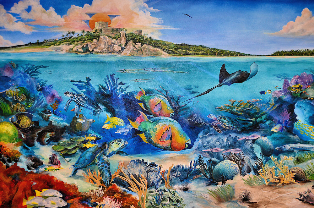 Mayan Ruins and Coral Reef Mural in Akumal, Mexico<br />