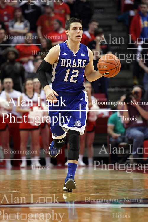 26 January 2016: Reed Timmer(12) during the Illinois State Redbirds v Drake Bulldogs at Redbird Arena in Normal Illinois (Photo by Alan Look)