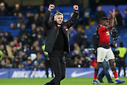 Manchester United interim Manager Ole Gunnar Solskjaer celebrates at the end in front of fans during the The FA Cup 5th round match between Chelsea and Manchester United at Stamford Bridge, London, England on 18 February 2019.