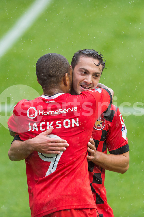 Simeon Jackson of Walsall celebrates scoring his sides third goal during the EFL Sky Bet League 1 match between Walsall and Bury at the Banks's Stadium, Walsall, England on 27 August 2016. Photo by Darren Musgrove.