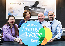 Scottish Labour Leader, Kezia Dugdale, visits IT repair and retail store SimplyFixIt in Edinburgh, which has recently been accredited as a living wage employer.<br /> <br /> Pictured: Anna Edaimon (Branch Manager), Kezia Dugdale, Scott Wilkinson (Branch Area Manager), Awais Javed (Technical Manager)
