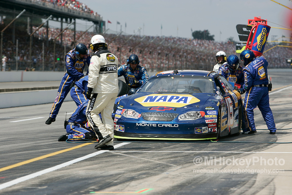 Michael Waltrip had to make an early pitstop due one of many flat tires on the day.