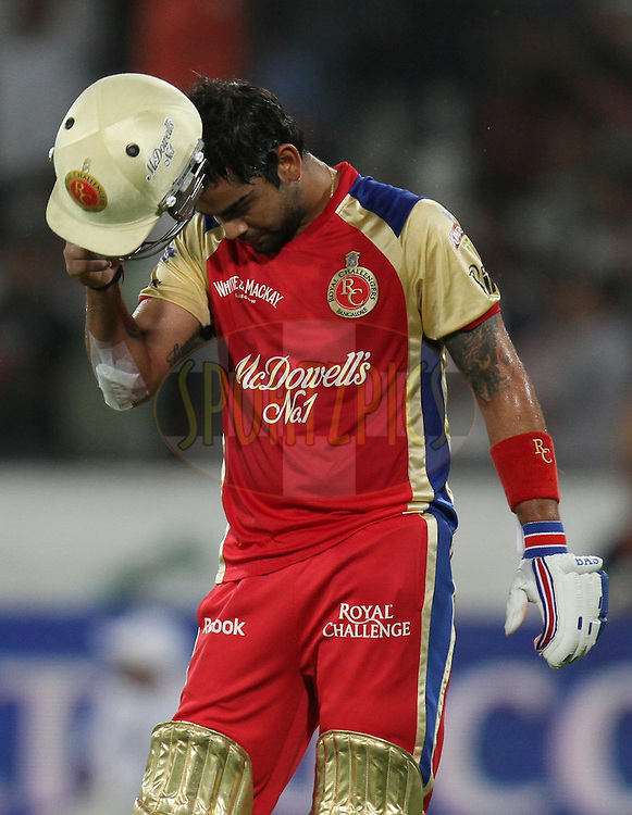Virat Kohli of  Royal Challengers Bangalore during match 11 of the Indian Premier League ( IPL ) between the Deccan Chargers and the Royal Challengers Bangalore held at the Rajiv Gandhi International Cricket Stadium in Hyderabad on the 14th April 2011...Photo by Parth Sanyal/BCCI/SPORTZPICS
