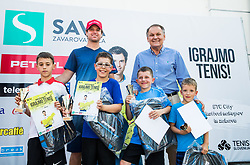 "Blaz Kavcic and Marko Umberger at Fan tennis event for kids named ""Play tennis"" by Tenis Slovenija, on May 26, 2018 in BTC - Millenium centre Ljubljana, Slovenia. Photo by Vid Ponikvar / Sportida"