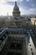 France. Paris. elevated view. The Pantheon and tthe cloister of Clovis church. view from Clowis tower (remaining of the old church)