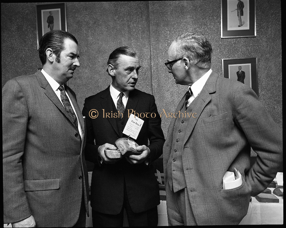 Hovis Family Bakery Competition..1971..23.02.1971..02.23.1971..23rd February 1971..At the Hibernian Hotel, Dublin, Ranks Ireland Ltd.,held the prize giving and celebration lunch for The Hovis Family Bakery Competition winners..Pictured with his prizewinning bread in section A was .Mr R V McKeever of the Ardee Bread Co Ltd,Ardee,Co Louth. Also in the picture are Mr H.L Donovan, Managing director,Ranks Irl Ltd.(L) and Mr P L Greenwood, Deputy Chairman, Ranks Irl Ltd..