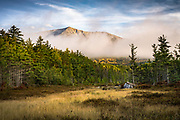 The Knife Edge on Katahdin stands out nicely as the morning fog burns away in the first rays of morning light. This view is across the meadow to the left just after you turn right past the Gatehouse.