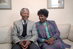 Nelson and Winnie Mandela at a London hotel, shortly after their arrival in the UK.