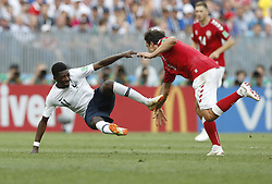 MOSCOW, June 26, 2018  Ousmane Dembele (L) of France competes during the 2018 FIFA World Cup Group C match between Denmark and France in Moscow, Russia, June 26, 2018. The match ended in a 0-0 draw. France and Denmark advanced to the round of 16. (Credit Image: © Cao Can/Xinhua via ZUMA Wire)