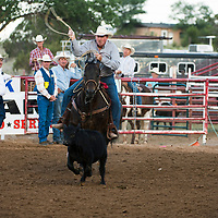 Bill Nevill competes at the National Senior Pro Rodeo Association in Grants on Wednesday.