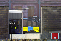 © Licensed to London News Pictures. 16/02/2016<br /> A Met Police water cannon parked inside a fake street scene at the Metropolitan Police Specialist Training Centre. Two Metropolitan Police water cannons with a new paint job and Met Police logo on the side have been spotted at the Metropolitan Police Specialist Training facility. Photo credit:Grant_Falvey/LNP