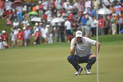 October 14, 2018 - Kuala Lumpur, Malaysia - Marc Leishman of Australia lines up a putt on the 18th green during the final round of CIMB Classic golf tournament in Kuala Lumpur, Malaysia on October 14, 2018. (Credit Image: © Zahim Mohd/NurPhoto via ZUMA Press)