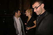 PAUL FRYER ,  POLLY MORGAN and PAUL DAVIES, Viewing of 'Petit Mal'  by Paul Fryer. The Grecian Temple. Great Eastern Hotel. 40 Liverpool St. London. EC2M 7QN. ONE TIME USE ONLY - DO NOT ARCHIVE  © Copyright Photograph by Dafydd Jones 66 Stockwell Park Rd. London SW9 0DA Tel 020 7733 0108 www.dafjones.com