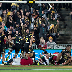 Try Time during game 8 of the British and Irish Lions 2017 Tour of New Zealand,The match between  Hurricanes and British and Irish Lions, Westpac Stadium, Wellington, Tuesday 27th June 2017<br /> (Photo by Kevin Booth Steve Haag Sports)<br /> <br /> Images for social media must have consent from Steve Haag