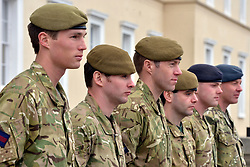 ***UNDER STRICT EMBARGO UNTIL 00:01 22nd MARCH 2013 *** © Licensed to London News Pictures. 21/03/2013. Sandhurst, UK. Military Cross recipients (LEFT TO RIGHT) CAPTAIN MICHAEL DOBBIN OF THE GRENADIER GUARDS. LANCE-CORPORAL LAWRENCE KAYSER OF THE ROYAL ANGLICAN REGIMENT. CAPTAIN RICHARD OAKES OF THE MERCIAN REGIMENT, TERRITORIAL ARMY. CAPTAIN JOHN SCARLETT OF THE COLDSTREAM GUARDS. CORPORAL STEPHEN SHAW OF THE ROYAL MEDICAL CORPS. SERGEANT ROY GEDDES OF THE ROYAL AIRFORCE. Recipients of honours at a media facility today 21/03/13 at the Royal Military Academy, Sandhurst, ahead of the publication of the full 'operational honours list 40' to be published in the London Gazette on Friday March 22nd 2013.  Photo credit : Stephen Simpson/LNP