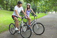 Young couple on bike trip