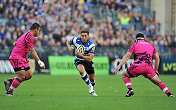Gavin Henson of Bath Rugby spots a gap in the London Welsh defence - Photo mandatory by-line: Patrick Khachfe/JMP - Mobile: 07966 386802 01/11/2014 - SPORT - RUGBY UNION - Bath - The Recreation Ground - Bath Rugby v London Welsh - LV= Cup