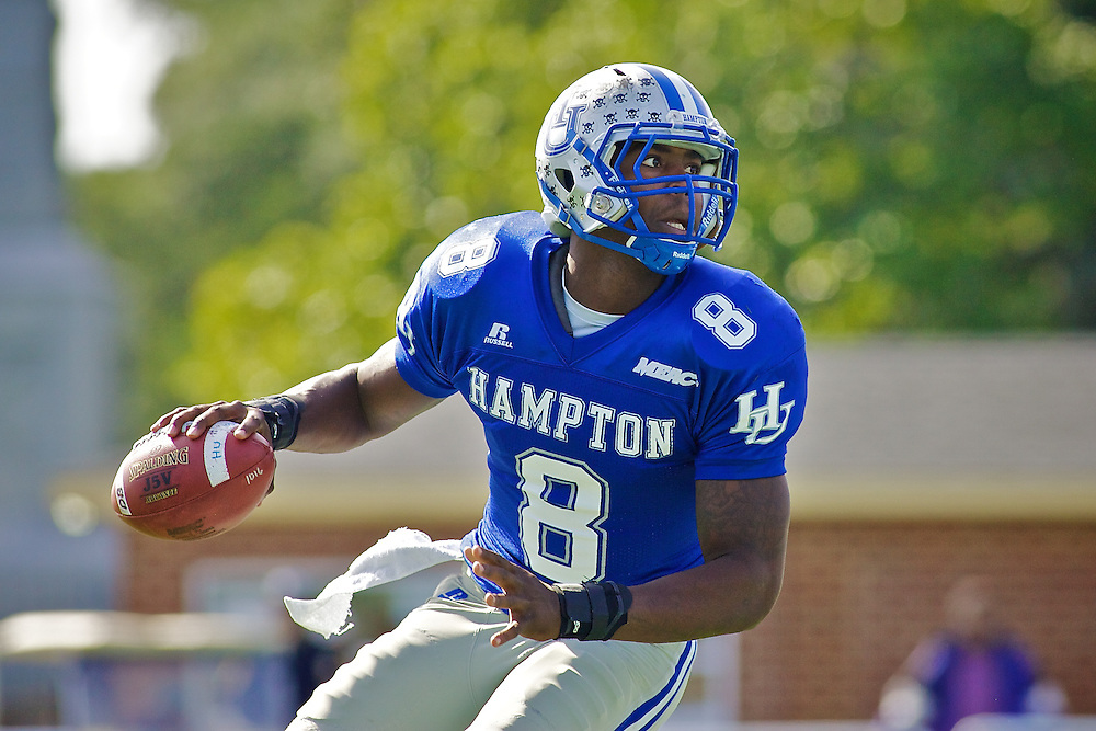 Oct 30, 2010; Hampton VA, USA; Hampton Pirates quaterback David Legree (8) drops back to pass against the Old Dominion Monarchs at Armstrong Staium. The Pirates lost 28-14. Mandatory Credit: Peter J. Casey