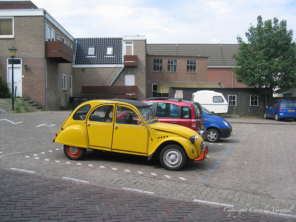 "Citroen 2CV car, known in Dutch as ""Lelijke Eend"" or Ungly Duckling, Bergambacht, The Netherlands"