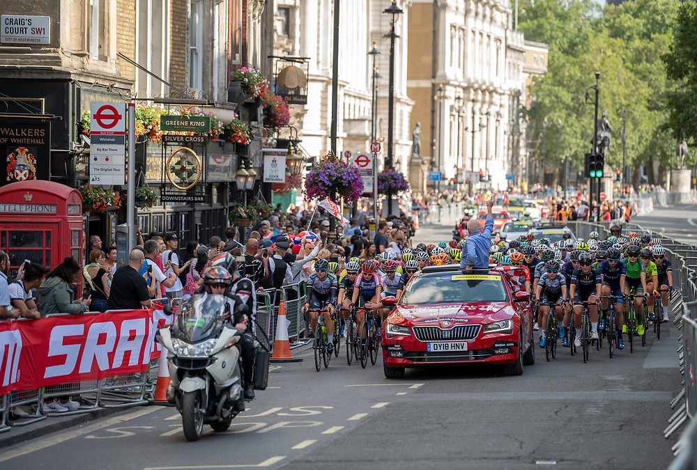 The riders on Whitehall in the Prudential RideLondon Classique. Saturday 28th July 2018<br /> <br /> Photo: Thomas Lovelock for Prudential RideLondon<br /> <br /> Prudential RideLondon is the world's greatest festival of cycling, involving 100,000+ cyclists - from Olympic champions to a free family fun ride - riding in events over closed roads in London and Surrey over the weekend of 28th and 29th July 2018<br /> <br /> See www.PrudentialRideLondon.co.uk for more.<br /> <br /> For further information: media@londonmarathonevents.co.uk