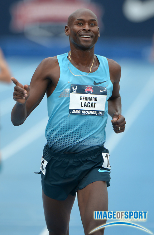 Jun 23, 2013; Des Moines, IA, USA; Bernard Lagat celebrates after winning the 5,000m in 14:54.16 in the 2013 USA Championships at Drake Stadium.