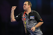 Kim Huybrechts reacts to missing a dart at a double during the World Darts Championships 2018 at Alexandra Palace, London, United Kingdom on 19 December 2018.