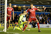 Middlesbrough striker Jordan Rhodes watches his effort rebound off the post during the Sky Bet Championship match between Birmingham City and Middlesbrough at St Andrews, Birmingham, England on 29 April 2016. Photo by Alan Franklin.
