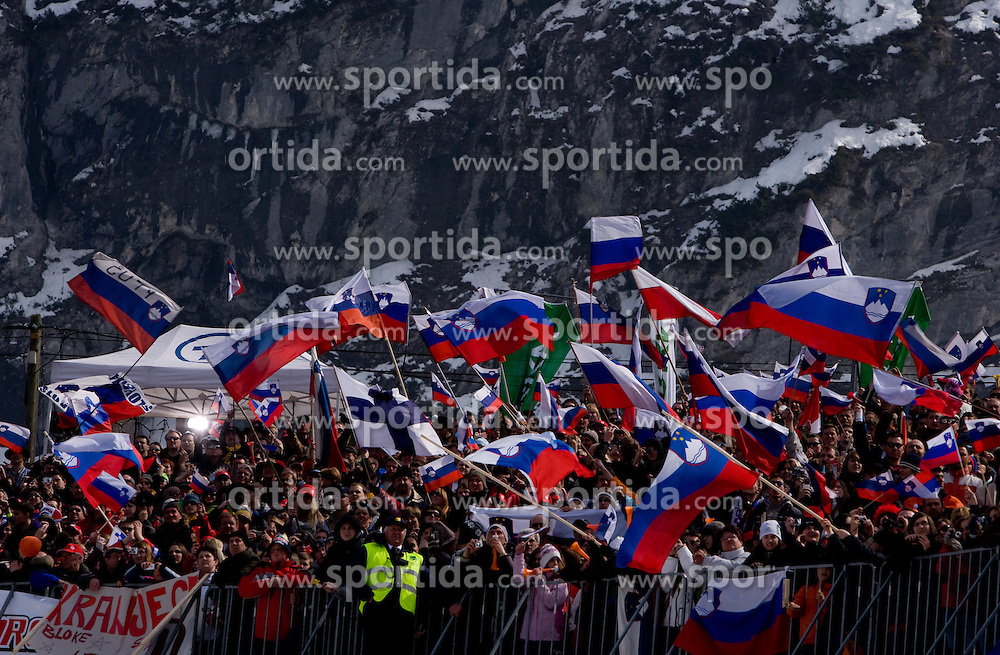 Fans during Flying Hill Individual Trial Round at 3rd day of FIS Ski Flying World Championships Planica 2010, on March 20, 2010, Planica, Slovenia.  (Photo by Vid Ponikvar / Sportida)