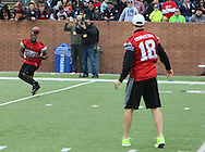 NFL Free Agent Demetrius Crawford catches a pass from Kirk Cousins during game action, Super Bowl 51 - 16th Annual Celebrity Flag Football Challenge, Rhodes Stadium,  4 Feb 2017, Katy TX.  Red Team Captain Kirk Cousins would lose for the 2nd straight year to Doug Flutie's Blue team by a final score of 40-35.