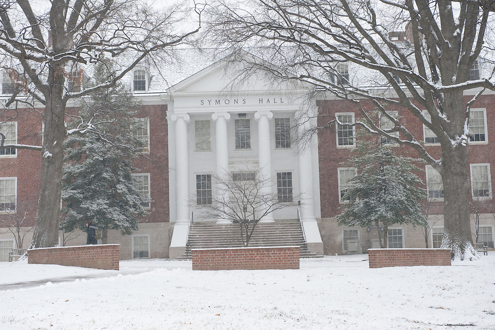 University of Maryland Campus in snow