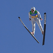 Winter Olympics, Vancouver, 2010.Martin Schmitt, Germany, winning a Silver Medal with his team in the Ski Jumping Team final event at Whistler Olympic Park , Whistler, during the Vancouver Winter Olympics. 22nd February 2010. Photo Tim Clayton