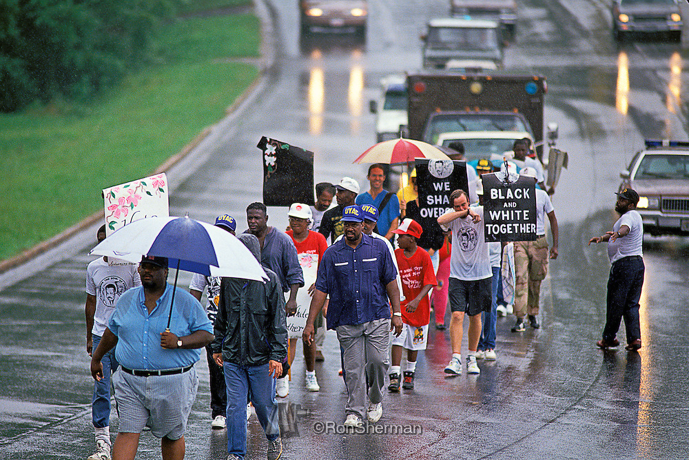Hosea Williams civil rights march in Forsyth County GA in 1992