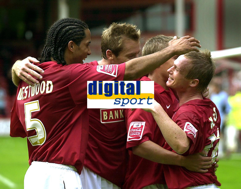 Photo: Dave Linney.<br />Walsall v Mansfield Town. Coca Cola League 2. 30/09/2006.Walsall's Dean Keates(R) celebrates after scoring for Walsall