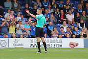 referee Michael Salisbury shows Shrewsbury Town FC forward Ivan Toney his 2nd Yellow Card, then Red during the EFL Sky Bet League 1 match between AFC Wimbledon and Shrewsbury Town at the Cherry Red Records Stadium, Kingston, England on 24 September 2016. Photo by Stuart Butcher.