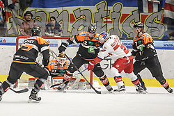 05.03.2017, Merkur Eisarena, Graz, AUT, EBEL, Moser Medical Graz 99ers vs EC Red Bull Salzburg, Viertelfinale, 4. Spiel, im Bild von links Evan Brophey (#47, Moser Medical Graz 99ers), Sebastian Dahm (#31, Moser Medical Graz 99ers), Thomas Pöck (#22, Moser Medical Graz 99ers), Daniel Welser (#20, EC Red Bull Salzburg) und Robin Weihager (#7, Moser Medical Graz 99ers) // during the Erste Bank Icehockey League 4th quarterfinal match between Moser Medical Graz 99ers and EC Red Bull Salzburg at the Merkur Ice Arena, Graz, Austria on 2017/03/05, EXPA Pictures © 2017, PhotoCredit: EXPA/ Erwin Scheriau