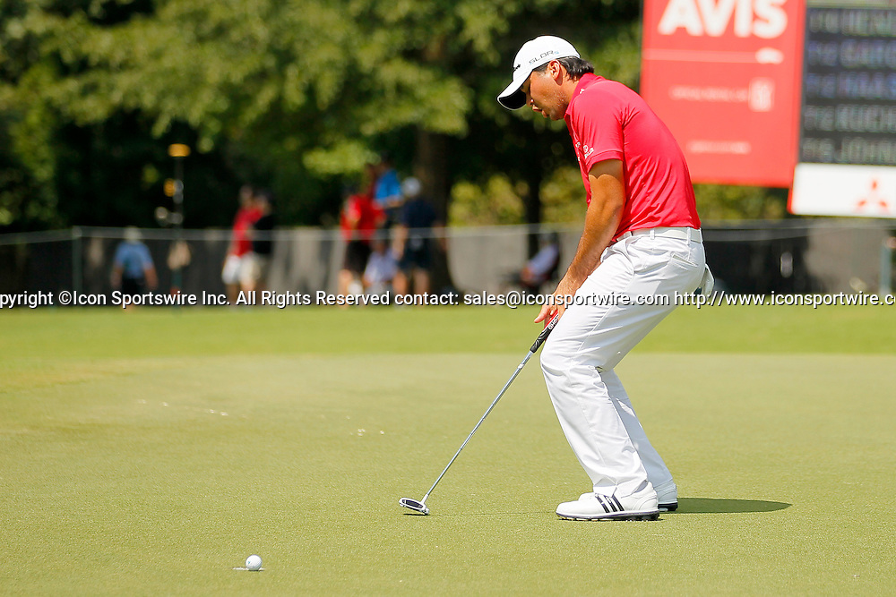 September 12, 2014: Jason Day reacts after coming up just short on fifteen in the second round of the FedEx Cup - The Tour Championship at East Lake Golf Club in Atlanta, Georgia.