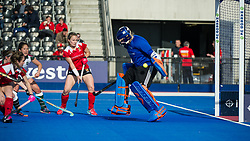 Holcombe's Grace Lawes makes a save. Holcombe v Surbiton - Investec Women's Hockey League Final, Lee Valley Hockey & Tennis Centre, London, UK on 23 April 2017. Photo: Simon Parker