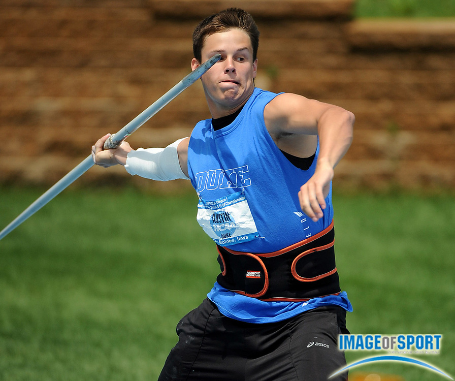 Jun 11, 2008; Des Moines, IA; John Austin of Duke threw 211-8 (64.53m) in the javelin preliminaries inthe NCAA Track & Field Championships at Drake Stadium.