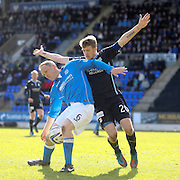 St Johnstone's Steven Anderson and Dundee's Jim McAlister - St Johnstone v Dundee, SPFL Premiership at McDiarmid Park<br /> <br />  - &copy; David Young - www.davidyoungphoto.co.uk - email: davidyoungphoto@gmail.com