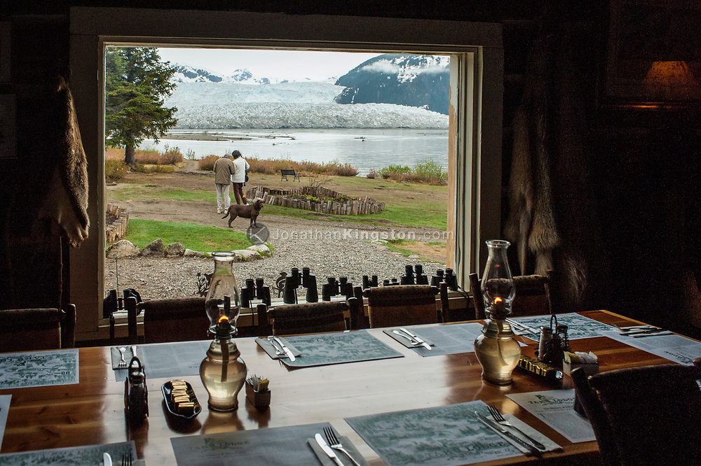 View out the window of the Taku Glacier Lodge near Juneau, Alaska.