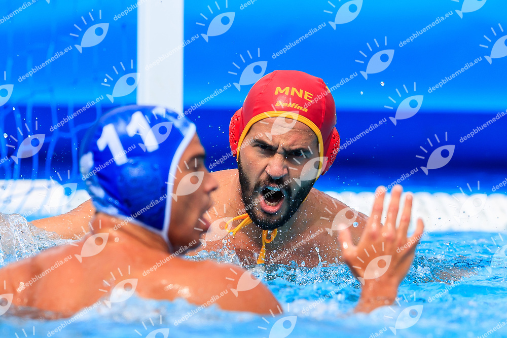 Dejan Lazovic of Montenegro and Alexandros Gounas of Greece<br /> Montenegro (white cap) -  Greece (blue cap)<br /> Quarterfinal  Round Water Polo Man<br /> Day12  25/07/2017 <br /> XVII FINA World Championships Aquatics<br /> Alfred Hajos Complex Margaret Island  <br /> Budapest Hungary <br /> Photo @Deepbluemedia/Insidefoto Photo @Marcelterbals/Deepbluemedia/Insidefoto