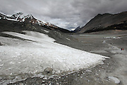 Patches of ice still remain below the Athabasca Glacier in Jasper National Park in the middle of June. People walk up the moraine to get a glimpse of the fast-retreating glacier that spills into the valley of the Icefields Parkway