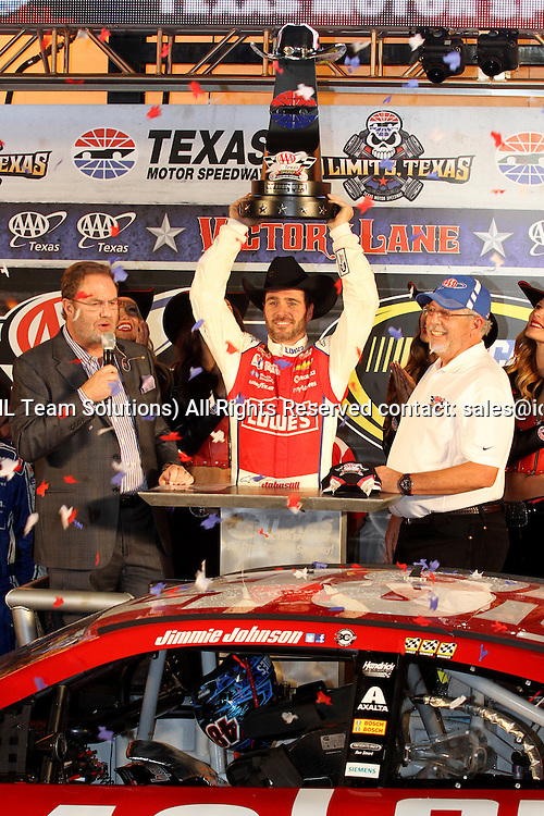 November 2, 2014 : Jimmie Johnson, driver of the Lowe's Red Vest Chevy celebrates winning the NASCAR Sprint Cup Series AAA Texas 500 at Texas Motor Speedway in Ft. Worth, TX.