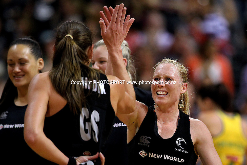 Silver Fern's Laura Langman high fives with Irene van Dyk after the win. New World Quad Series, New Zealand Silver Ferns v Australian Diamonds at Claudelands Arena, Hamilton, New Zealand. Thursday 1st November 2012. Photo: Anthony Au-Yeung / photosport.co.nz